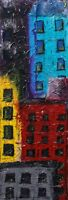 """Architectural Textured Tall 36"""" Painting original wall art of Buildings 12x16"""