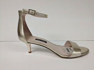 Nine West Leisa Heeled Sandal, Light Gold/Metallic, Womens 8 M