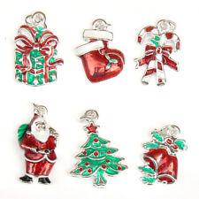 Esmalte Navidad encantos-Conjunto de 6-Nuevo-Vendedor de Reino Unido-para artesanías, joyas etc