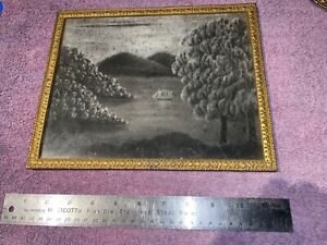 Antique American Framed Sandpaper Painting/Marble Dust Painting, Ship in Harbour