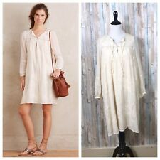 9a29bc4935da9 NEW Anthropologie S Rare Tiny Ivory Boho Embroidered Luisa Swing Peasant  Dress