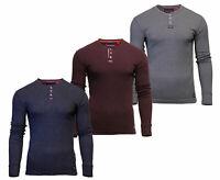 Superdry Mens Heritage Long Sleeve Henley Top T-Shirt Black Burgundy Grey
