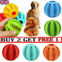 Pet Dog Puppy Rubber Ball Rubber Ball Teething Durable Treat Clean Chew Toy UK