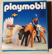 Playmobil-Set  3L84-lyr - Indian and US officer with horses, 1976, OB, RARE