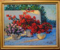 "Mediterranean patio. Original framed oil on canvas 30""x24""  painting from artist"