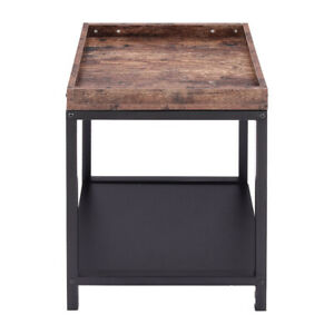 Industrial Wooden Table 2 Tiers Butler Tray Stand Shelf Rack for Bed Sofa Side