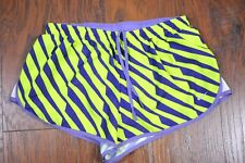 "Nike Dri-Fit 2"" Road Race Lined Shorts Purple Green Women's Large L"