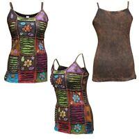 Multicolored Stonewashed Sleeveless Hippy Women Tank Tops Boho Festival vest