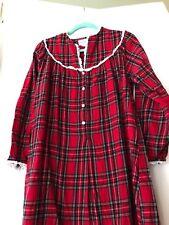 LANZ OF SALZBURG Womens Size medium   Red Plaid Flannel Nightgown
