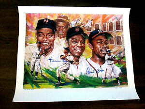 WILLIE MAYS HANK AARON HOF SIGNED AUTO ARTIST PROOF L/E LITHOGRAPH DOUG WEST