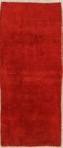 Gabbeh Solid Contemporary Runner Rug Hand Knotted Wool Hallway Red Carpet 3x7 ft