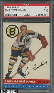 1954 Topps Hockey #7 Bob Armstrong Boston Bruins PSA 7 NM