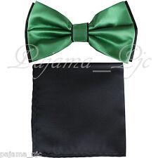 Wedding Black Emerald Pre-tied Bowtie & Black Pocket Square Hankie Two Layers