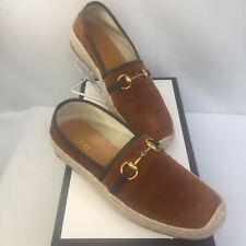 Gucci Mens Shoes Brown  Suede Espadrille Horsebit Loafers G9 Mens US 10 NIB