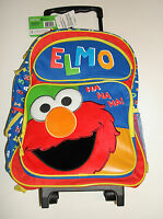 "Sesame Street Elmo Roller Backpack - Color 16"" Large Girls Boys Book Bag Rolling"
