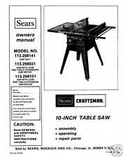Sears Craftsman  Table Saw Manual Model # 113.298031