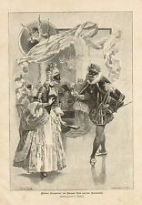Costume Party Cupid Romance 2 Prints Day After Original German Antique Art Print