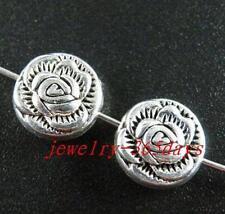 60pcs Tibetan Silver Rose Pattern Spacers 11x5.5mm zn28521