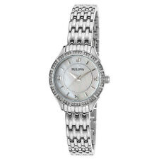Bulova 96X133 Lady's Crystal MOP Dial Watch with Necklace Set