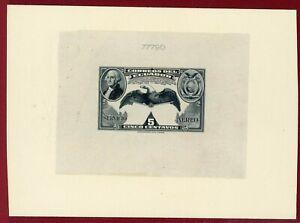Ecuador 1938 #C58, Die Proof on Card, 150th Anniv of US Constitution, Flag,Bird