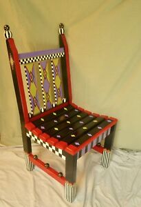 Superb, One of a kind, Artist Painted Wooden Chair, Inspired by MacKenzie-Childs
