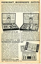 1935 small Print Ad of Chemcraft Microscope Outfits 6M & 10M Accessory Set No 3