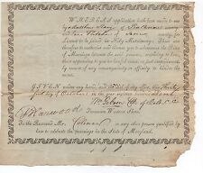 1801 Marriage License for Jane Fletcher from Baltimore County Maryland