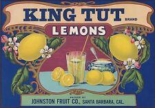 """RARE OLD ORIGINAL 1920 LEMONADE """"KING TUT BRAND"""" LABEL SANTA BARBARA CALIFORNIA"""