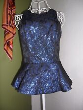 NEW Bardot Size 8 Blue Black Sparkly Pattern Peplum Lined Metallic Top Blouse