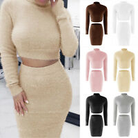 Women's Warmer 2Pcs Tracksuit Set Cropped Tops Sweater Bodycon Skirts Dress Suit