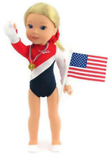 """USA Complete Gymnastic Set fits 14.5"""" American Girl Wellie Wishers Doll Clothes"""