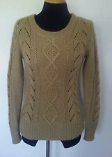 Women's Sessun France Tan Alpaca Wool Blend Cable Knit Sweater Sz Large Boutique