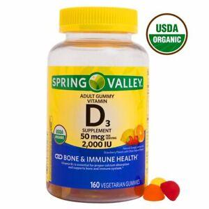 Spring Valley Vegetarian Vitamin D3 Gummies, 2000 IU, 50 mcg, 160 Ct