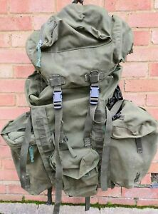 Genuine British Army Bergen Rucksack OLIVE Long Back With Side Pouches Grade 2