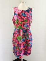 NWT J.Crew Factory Pleated Floral Shift Dress 10 Sleeveless Coral Spring 07326