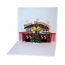 Christmas Cards 3D Pop Up Merry Christmas fireplace Handmade Custom Greeting 3X7