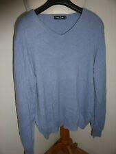 James Pringle blue medium weight V neck 100% cashmere jumper L 44 inch