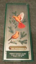 Vtg 20's 30's Mirror Advertising Thermometer Birds Gerber's Central Dairy Muncie