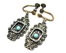Dangle Turquoise Earrings 935 Sterling Silver Drop Israel Vintage Jewelry