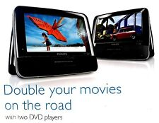 Philips Dual Portable DVD Players 7 Inch Wide Screen Black Stereo Speaker