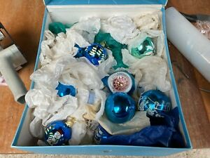 Vintage Retro Style Blue & Green Christmas Tree Decorations Baubles x 35