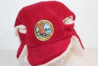 L L Bean Bear Red 90th Anniversary Fleece Ear Flap Hat 1912-2002