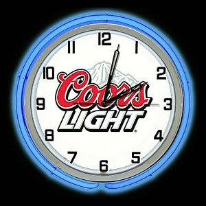 """19"""" Coors Light Beer Sign Double Blue Neon Clock Man Cave Garage Bar Game Room"""