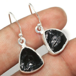 Natural Black Rough Tourmaline Solid 925 Sterling Silver Earring Jewelry IN-2128