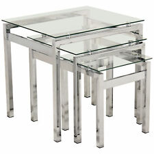 Chrome & Clear Glass Nest of 3 Piece Coffee End Lamp Side Table Set