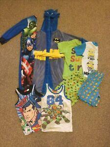 Boys 5-6 Pyjamas Pjs Bundle Dressing Gown Vest All In One Marvel Batman Next