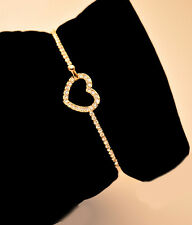 Chic Womens Cuff Gold Plated Charm Love Heart Crystal Bangle Bracelet Jewelry