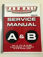 SERVICE MANUAL FOR IH FARMALL A FARMALL B TRACTORS GSS-5031