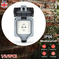 IP66 Waterproof Socket Outdoor German Single EU Plug Socket Rainproof Outdoor