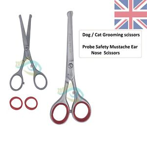"""Probe safety mustache ear nose pet grooming dog blunt end scissors 5.5"""" Straight"""